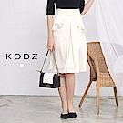 東京著衣-KODZ 歐美爆款木耳荷葉造型緞面裙-S.M(共一色)