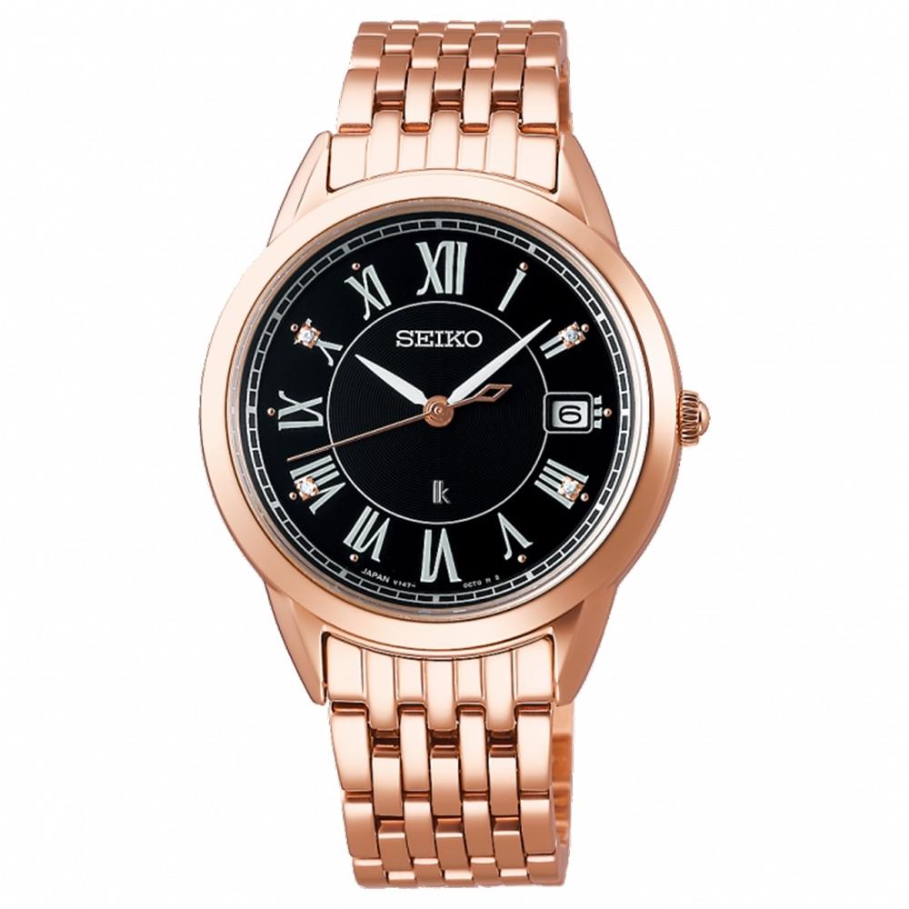 SEIKO 精工LUKIA 羅馬太陽能魅力4顆美鑽女錶-黑面錶33.9mm(SUT398J1/V147-0CR0B)