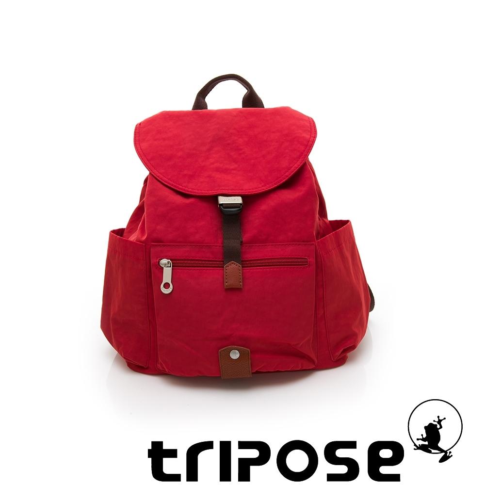 tripose MEMENTO系列微皺尼龍經典輕量後背包(小) 石榴紅