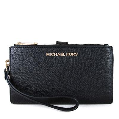 MICHAEL KORS JET SET金字Logo荔枝紋皮革雙層手拿長夾-黑色