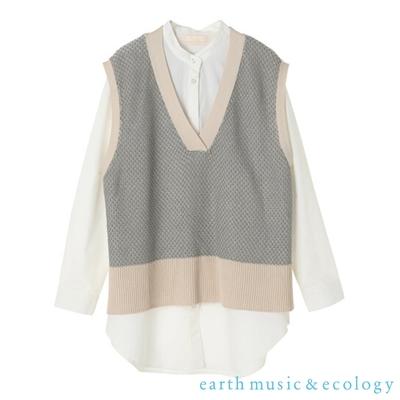 earth music 【SET ITEM】緹花配色V領針織背心+白色長袖襯衫