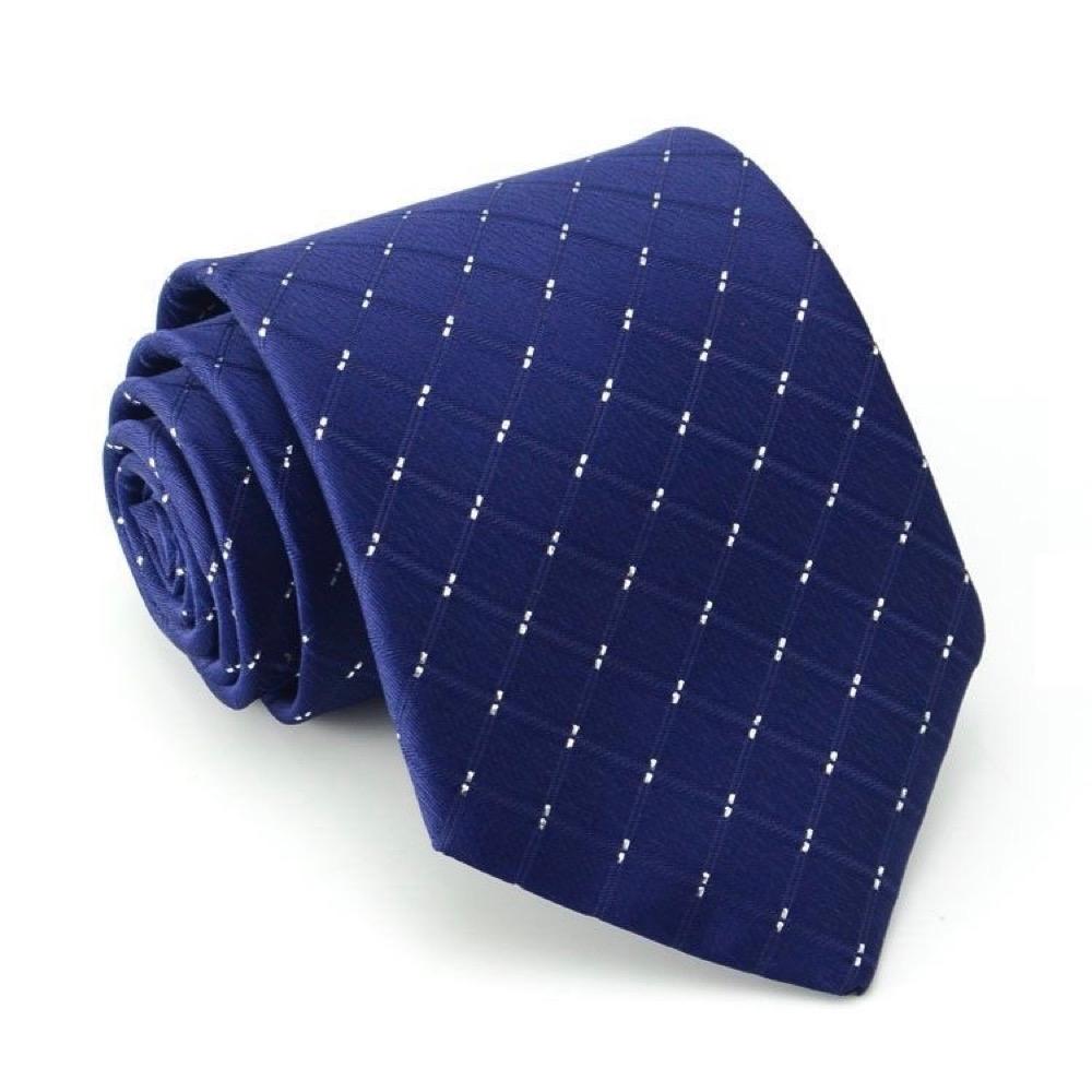 【89 zone】法式潮男菱格紋商務領帶 (藍色)