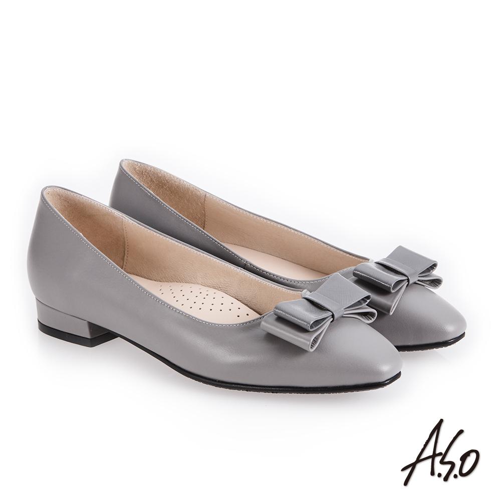 A.S.O 義式簡約 俐落時尚真皮低跟鞋 灰