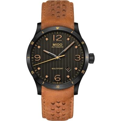 MIDO 美度 Multifort 先鋒系列時尚機械錶-黑x咖啡色/42mm M0254073606110