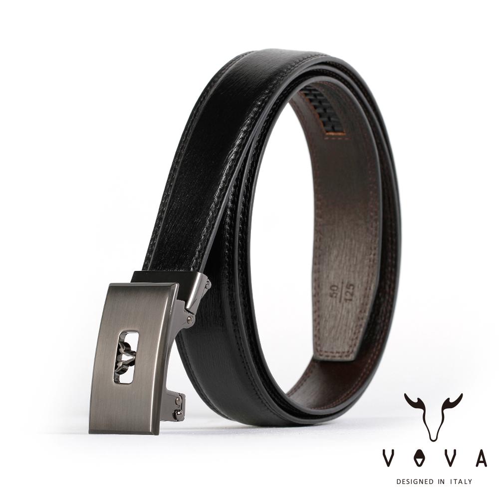 VOVA - 商務紳士鏤空造型自動扣皮帶 - 鎢鋼色