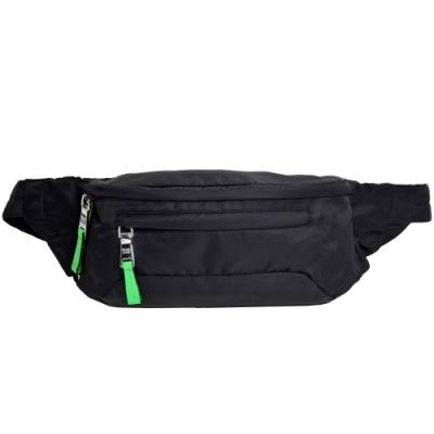 PRADA MARSUPIO 品牌LOGO圖騰科技纖維斜背/腰包(黑)