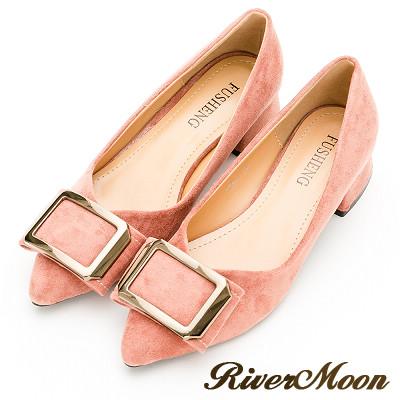 River&Moon跟鞋-輕熟方扣細絨尖頭粗跟鞋-粉橘