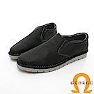 【GEORGE 喬治皮鞋】休閒系列 直套式萬用工作皮鞋-黑色