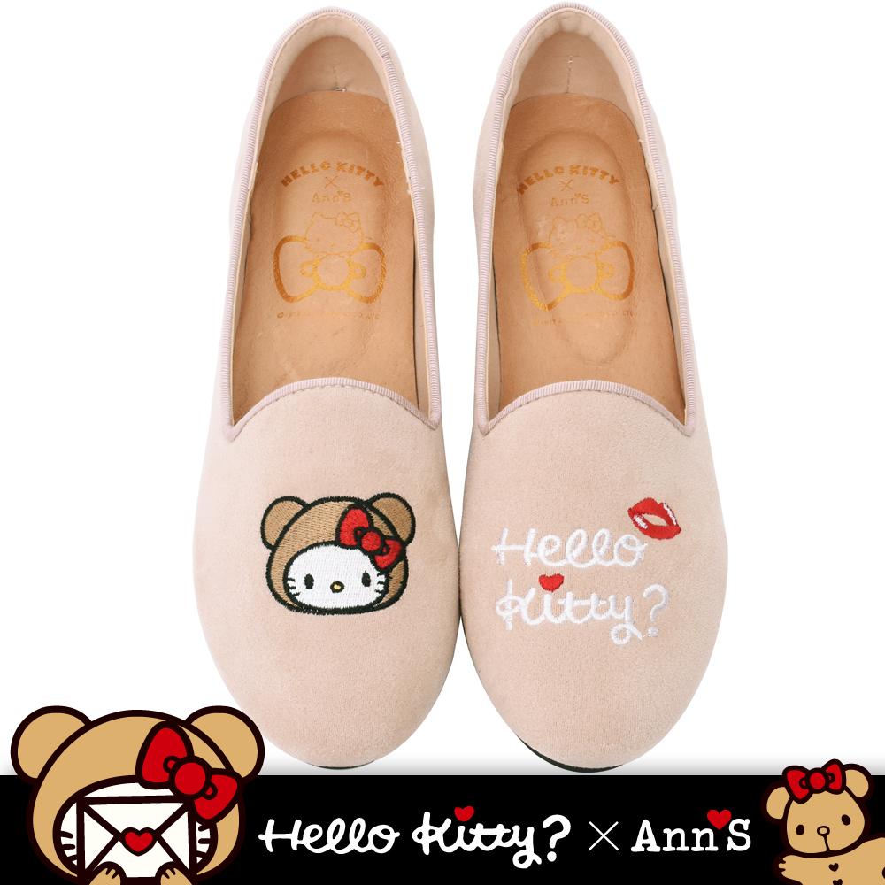 HELLO KITTY X Ann'S棕色熊熊不對稱彩色刺繡內增高樂福鞋-米(版型偏大)