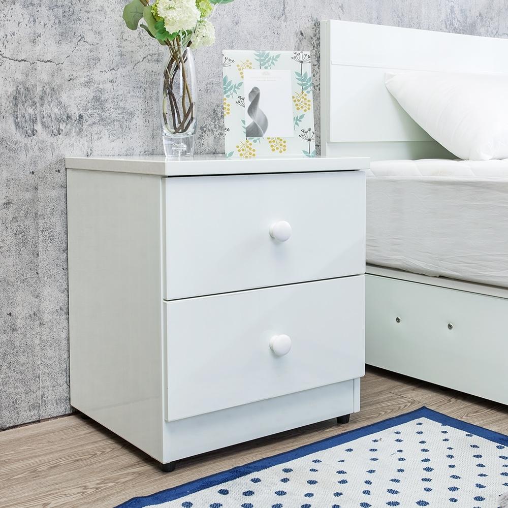 Birdie南亞塑鋼-1.5尺二抽塑鋼床頭櫃/抽屜收納櫃/置物櫃(白色)-46x43x55cm