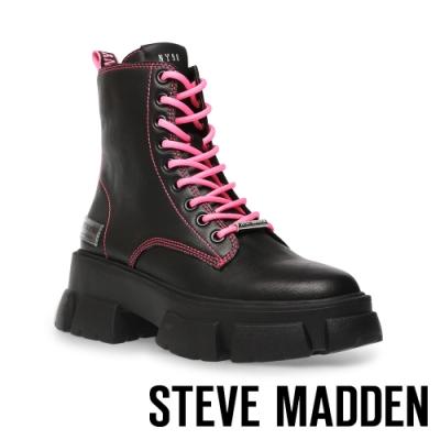 STEVE MADDEN-TANKER ROCK BOTTON 經典綁帶字母厚底中筒靴-黑粉色