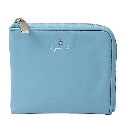 agnes b.VOYAGE 星星LOGO草寫字母皮革L型拉鍊卡夾零錢包(水藍)