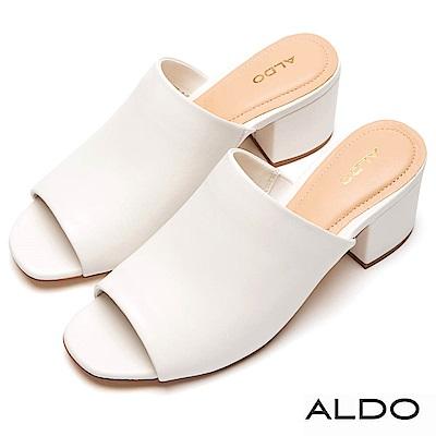 ALDO 原色真皮鞋面粗跟穆勒涼拖鞋~清新白色