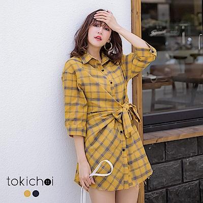 東京著衣  慵懶微甜腰綁帶排釦格子長版襯衫-S.M.L(共兩色)