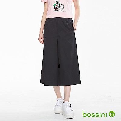 bossini女裝-素色七分寬褲02黑