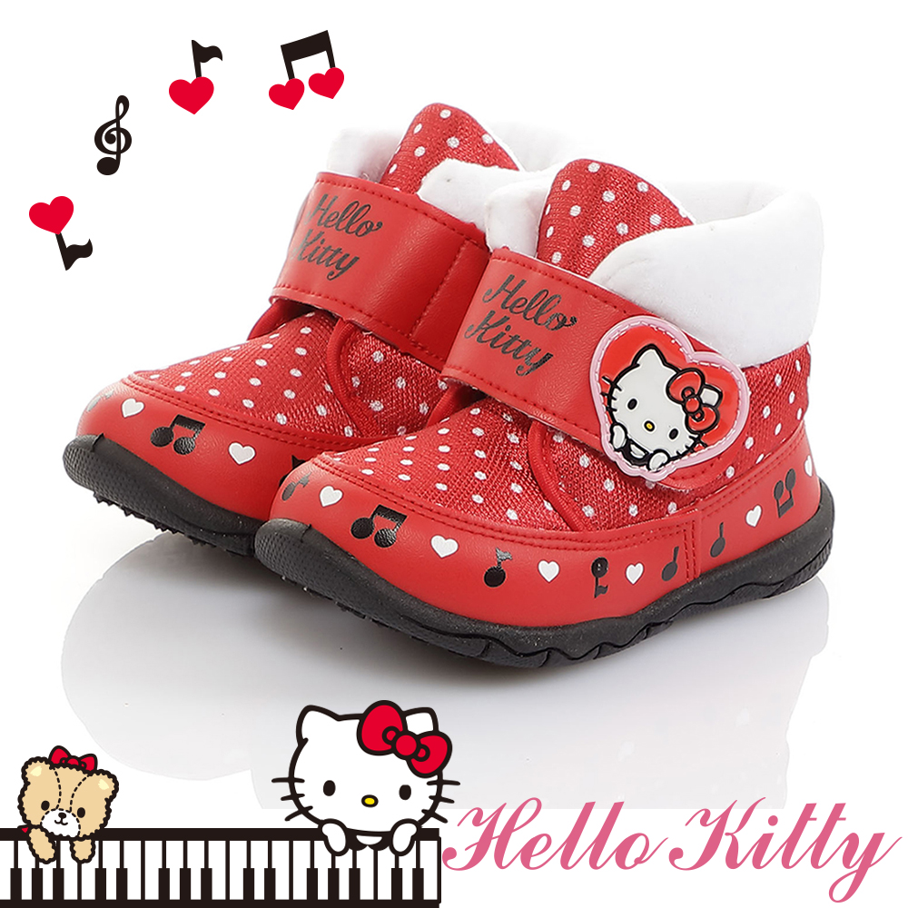 HelloKitty童鞋 保暖絨毛輕量減壓抗菌防臭高筒雪靴鞋-紅