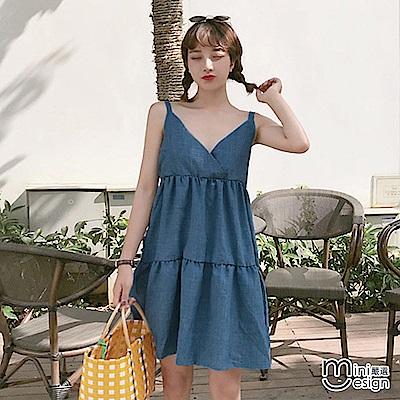 吊帶清新蛋糕連身裙 藍色-mini嚴選
