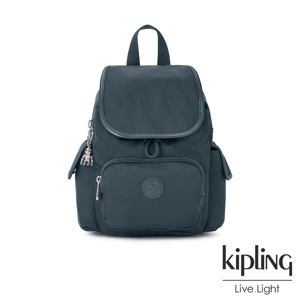 Kipling 知性優雅藍拉鍊掀蓋後背包-CITY PACK MINI