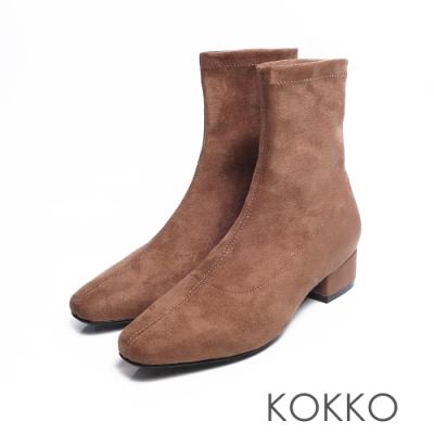 KOKKO - 時尚新寵兒方頭粗跟襪靴 - 駝色