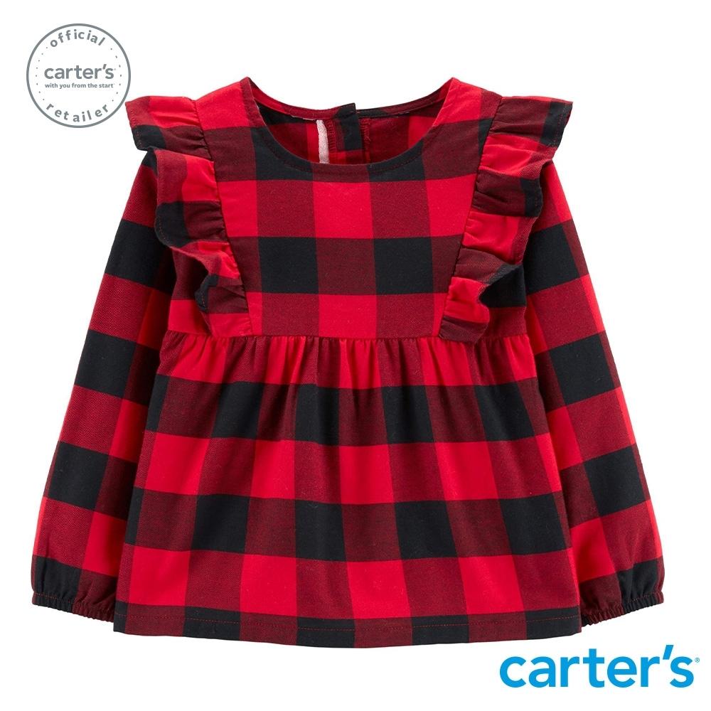 【Carter's】 美式格紋荷葉邊長袖洋裝 (台灣總代理)