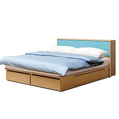 文創集 波蒂莉5尺雙人床台組(床頭箱+抽屜床底+不含床墊-152x218x84.5cm免組