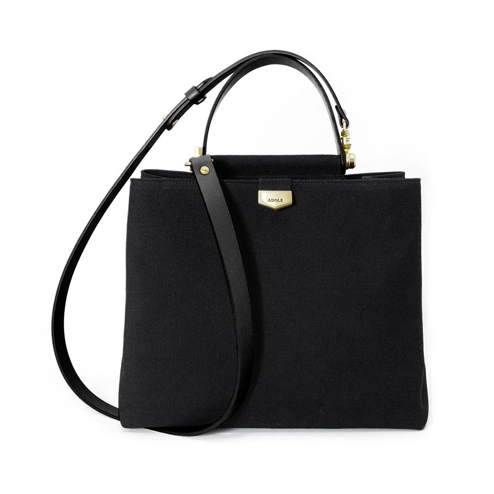 【IBAOBAO愛包包】ADOLE-ADay皮革斜背包/黑帆布包+黑色提把