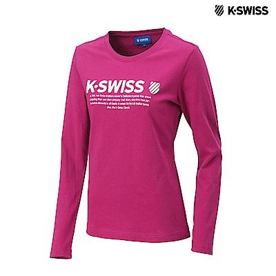 K-Swiss LS Logo Tee印花長袖T恤-女-桃紅