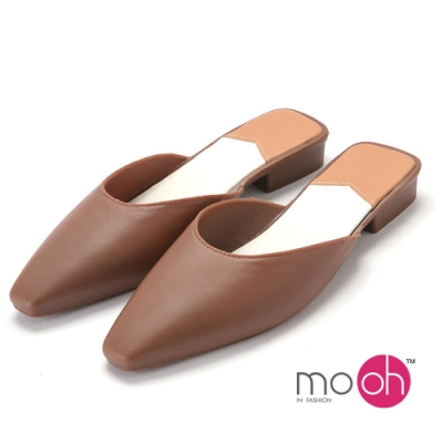mo.oh-防水方頭香水果凍穆勒包頭拖鞋-棕色