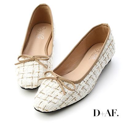 D+AF 溫柔氣質.格紋毛呢芭蕾娃娃鞋*米白