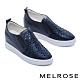 休閒鞋 MELROSE 時尚閃耀晶鑽全真皮內增高厚底休閒鞋-藍 product thumbnail 1