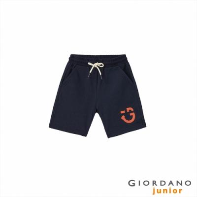 GIORDANO 童裝微笑印花抽繩短褲 - 66 標誌海軍藍