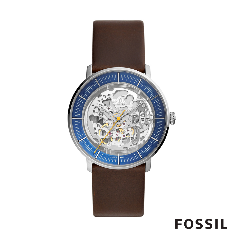 FOSSIL CHASE 棕色皮革透視機械男錶 42mm ME3162