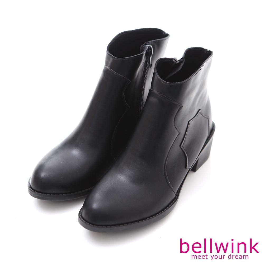 bellwink日系俐落皮革尖頭短靴-黑色-b9710bk