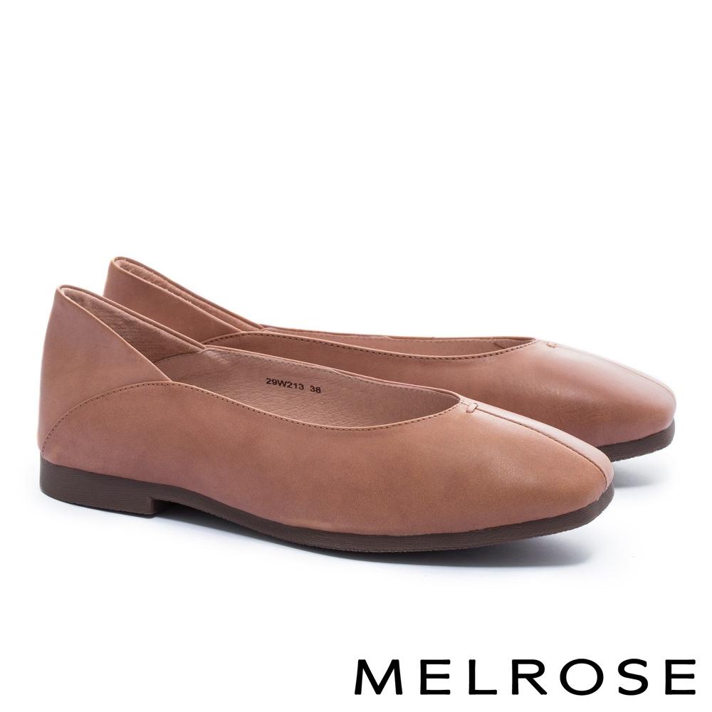低跟鞋 MELROSE 簡約時尚全真皮低跟鞋-咖