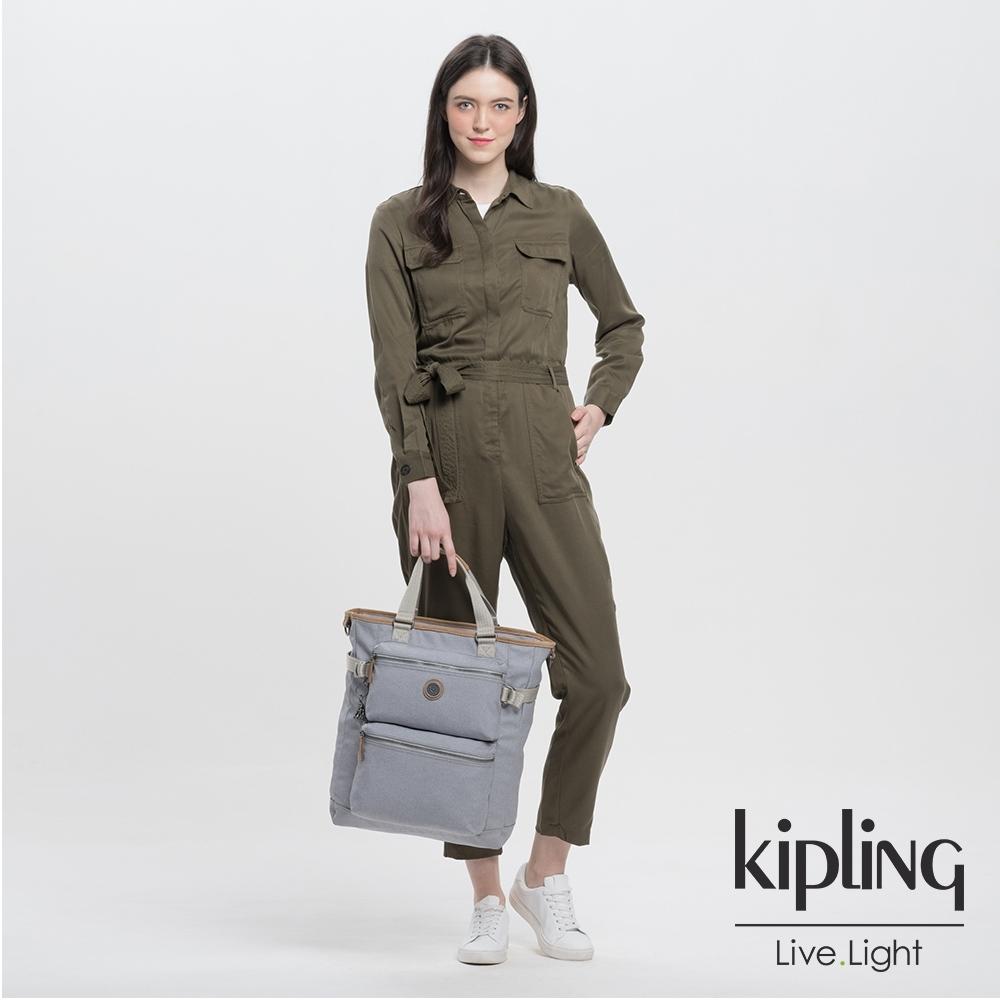 Kipling 低調皮革質感霧灰大容量機能斜背包包-LASLO