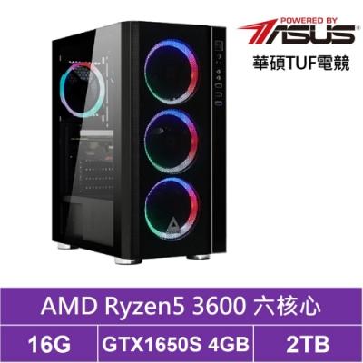 華碩B450平台[星爵武神]R5六核GTX1650S獨顯電玩機