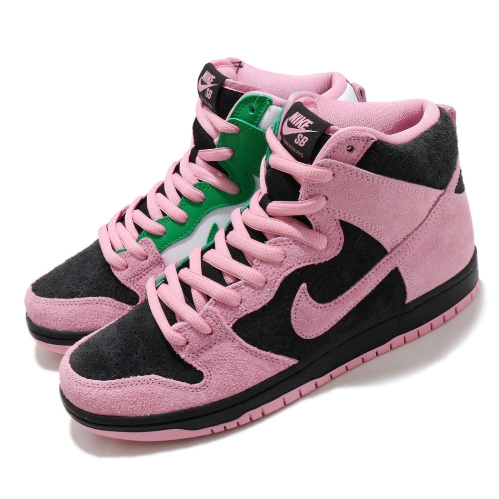 Nike 滑板鞋 SB Dunk High Pro 運動 男鞋 撞色 鴛鴦 麂皮 質感 球鞋 穿搭 粉 黑 綠 CU7349001