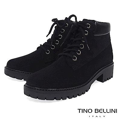Tino Bellini 義大利進口率性氣息個性綁帶短靴 _ 黑