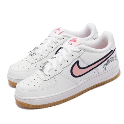 Nike 休閒鞋 Air Force 1 LV8 GS 女鞋 經典款 皮革 刺繡字母 膠底 大童 白 粉 DB4542-100