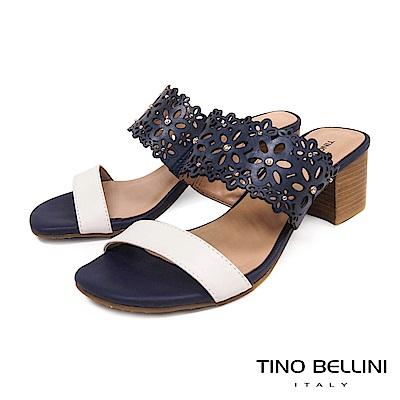Tino Bellini 巴西進口牛皮鏤花鑽飾中跟涼拖鞋 _ 藍+白