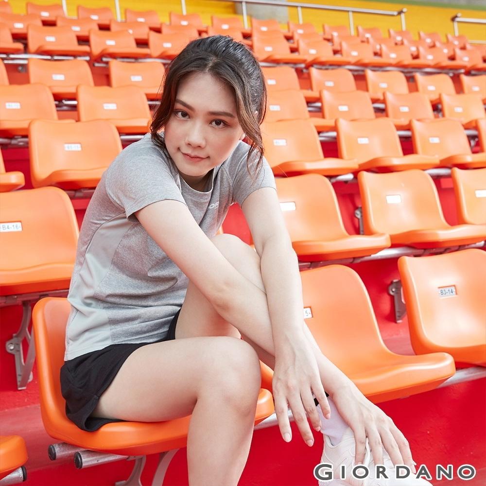 GIORDANO 女裝運動系列吸濕排汗拼接款短袖T恤- 01 花紗鯊魚灰