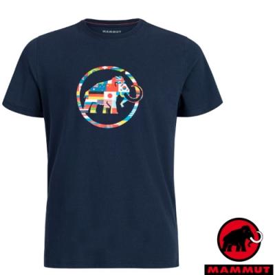 長毛象 男新款 世界T Nations 吸濕快乾彈性圓領短袖T恤_海洋藍