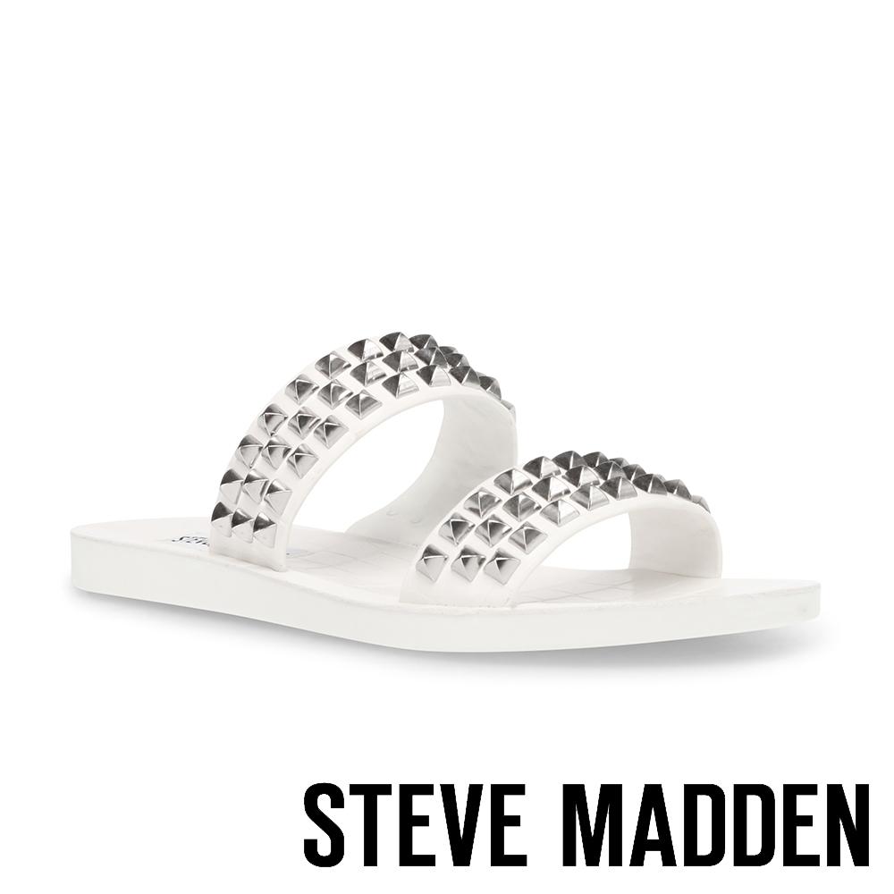 STEVE MADDEN-RAZOR 鉚釘雙帶平底涼拖鞋-白色
