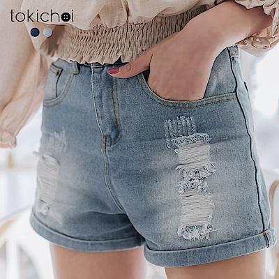 東京著衣  歐美百搭刷破反摺設計牛仔短褲-S.M.L(共兩色)