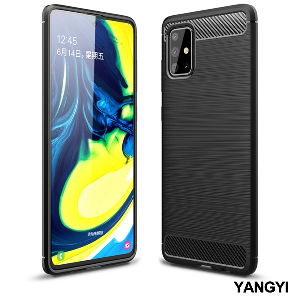 揚邑 SAMSUNG Galaxy A71 拉絲紋碳纖維軟殼散熱防震抗摔手機殼-黑