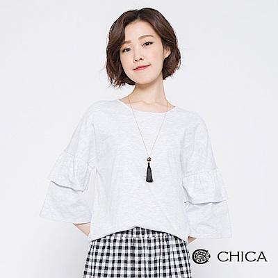 CHICA 清新秋日層疊荷葉袖圓領上衣(2色)