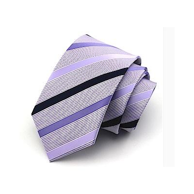 拉福   淡紫斜領帶7.5cm中寬版領帶拉鍊領帶 (兒童紫)