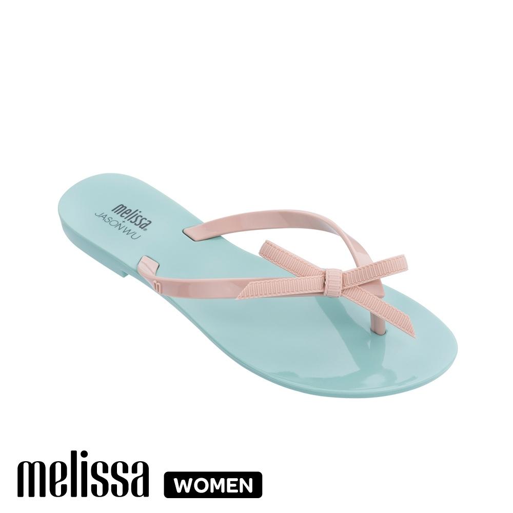 Melissa JASON WU聯名款 蝴蝶結質感撞色涼拖鞋 藍