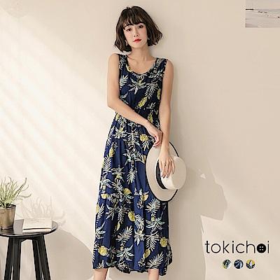 東京著衣 多色南洋風情傘擺洋裝(共三色)