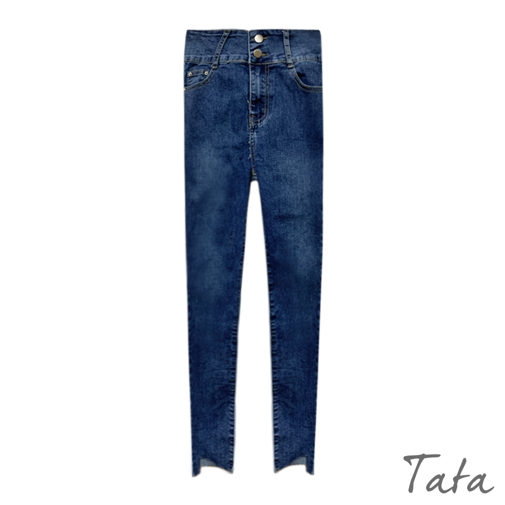 雙扣褲角挖洞抽鬚牛仔褲 TATA-(S~XL)